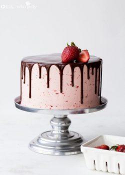 Hướng dẫn chi tiết cách làm bánh kem dâu nhúng socola nhỏ giọt đẹp mê mẩn