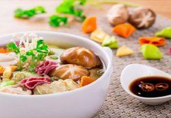 Món chay: Súp hoành thánh nấm ngọt vị