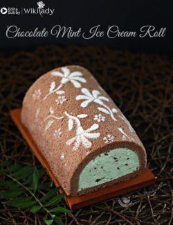 Bánh bông lan sô cô la cuộn kem tươi bạc hà