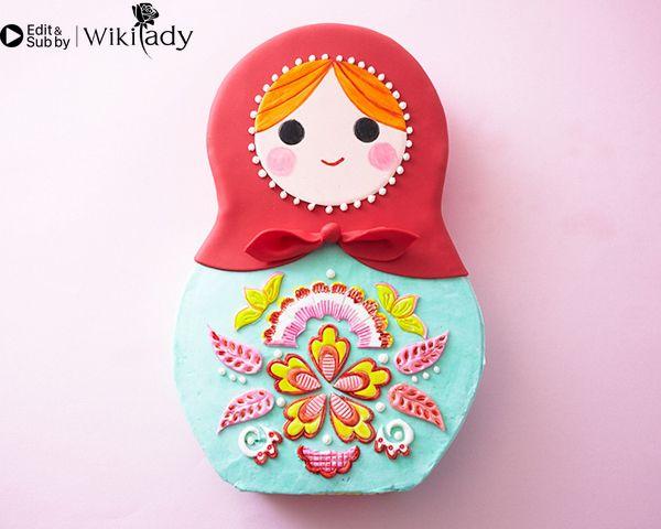 trang trí bánh kem hình búp bê Nga 18