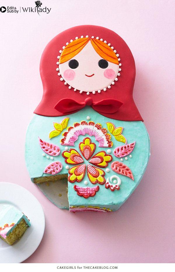 trang trí bánh kem hình búp bê Nga 19