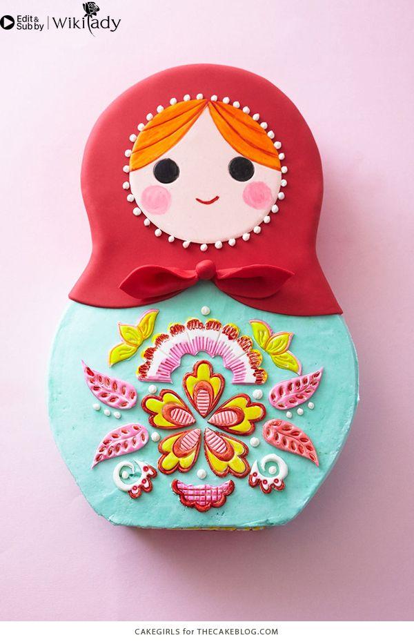 trang trí bánh kem hình búp bê Nga 2