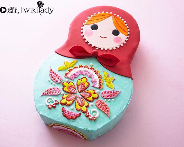 trang trí bánh kem hình búp bê Nga 3