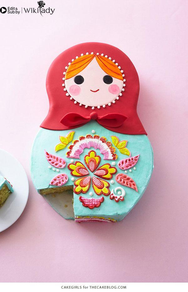 trang trí bánh kem hình búp bê Nga 5