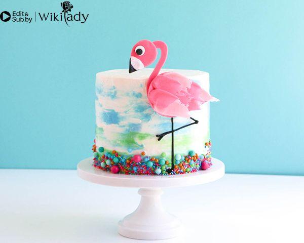 Cách trang trí bánh kem hồng hạc 40