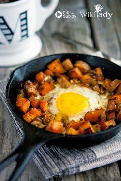 Món ăn Eat Clean: Trứng chiên với khoai lang và hành tây sốt caramel