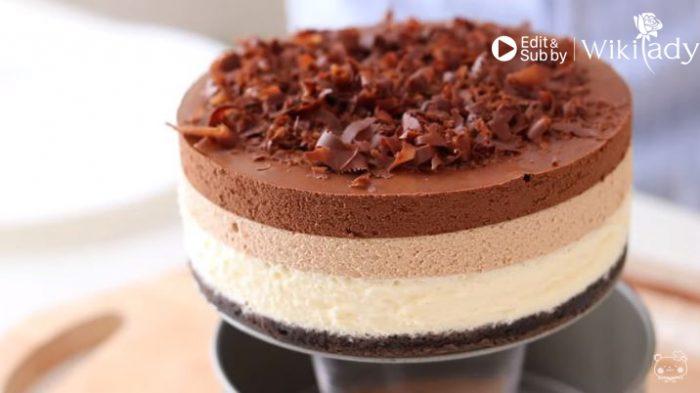 Bánh mousse chocolate 3 lớp hấp dẫn