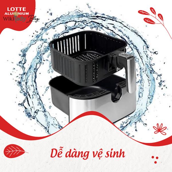 Nồi chiên không dầu Lotte rất dễ vệ sinh, chùi rửa sau mỗi lần sử dụng